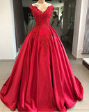 Cap Sleeve Cotillion Red Ball Gown Prom Gown  Robe De Soiree PL841