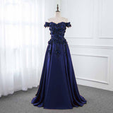 Off the Shoulder A Line Satin Prom Dress with Lace Flowers Wedding Party Dresses PL6540