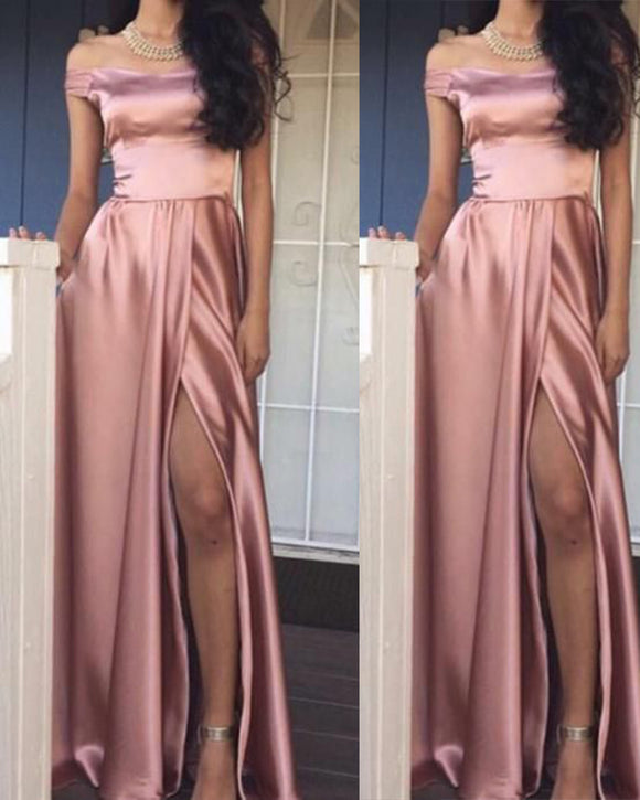 Pink Off the Shoulder Women Party Dresses Long with Sexy Split 2019 PL668