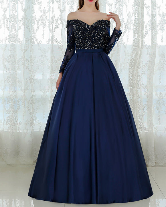 Navy Blue Long Sleeves Ball Gown Prom Dresses with Lace Beading PL556