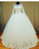 Romantic Lace Vintage Bridal dresses Ball Gown with Long Sleeves WD665