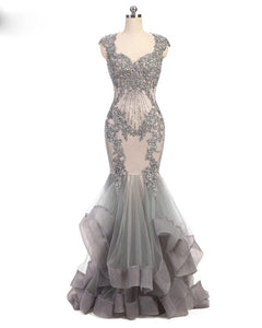 Luxury Chic Grey Mermaid Prom Dress Women Lace Beaded  Long Evening Formal Dress