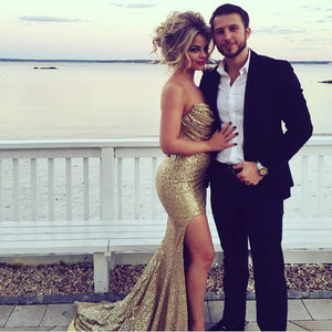 Siaoryne Ruched Strapless Gold Sequins Mermaid Evening Dresses Split Prom Gowns