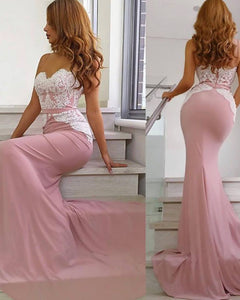 white/pink Mermaid Bridesmaid Dress Long Sweetheart Wedding party Gown PL6254