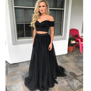 Black Crop Top Prom Dress Two Pieces Formal Evening Party Gown A Line Graduation Dress