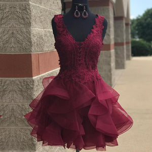Sweet Lace Poofy Short Junior Prom Dress Burgundy Homecoming Graduation Gown