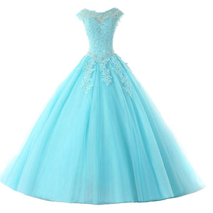 Cap Sleeves Baby Blue Lace Ball Gown Quinceanera Dresses Girls Debutante Prom Gown for Sweet 16