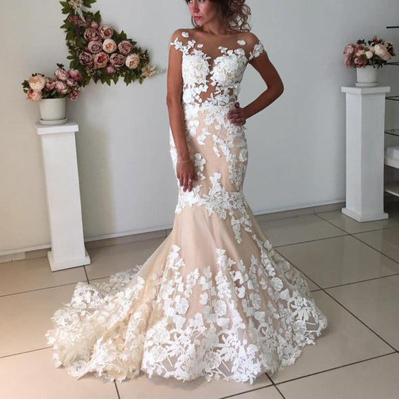 Blush Pink Lace Meramid Sexy Fashionable Wedding Dress