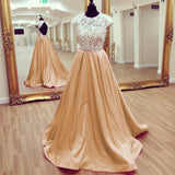 Siaoryne LP038 Cap Sleeves Lace and Satin Prom Dresses 2018 New Fashion on Sale