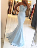 Sweetheart baby Blue Mermaid Beaded Senor Prom Dresses Long Formal Party Gown