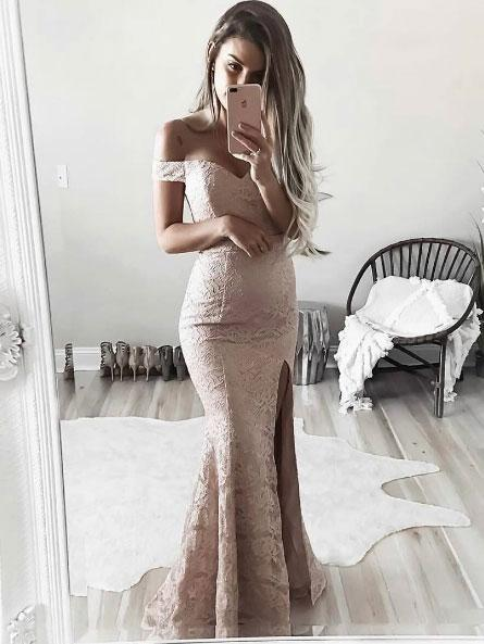 Champagne Off the Shoulder Prom Gown Lace Long Mermaid Formal Party Dresses 2018