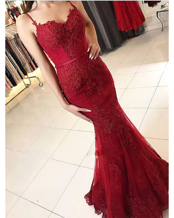 Fashion Spaghetti Straps Mermaid Lace Wine Red Prom Dresses Long 2019 LP368