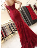 Fashion Spaghetti Straps Mermaid Lace burgundy Lace Prom Dresses Long 2020 LP368