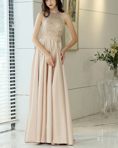 Champagne Beading Girls Prom Dresses Long Formal Gown PL664