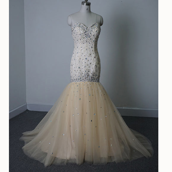 Sparkle Champagne Diamond Crystal Prom Dress Sweetheart Tulle Mermaid Women Formal Evening Gown LP4465