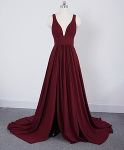 Pleated Long Burgundy Prom Dress with Slit