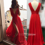 Red Flowing Chiffon Deep V Neck Sexy Summer Evening  Party Gown Long Prom Dresses Vestido De Festa LP478