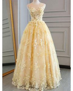 Yellow Lace Prom Dresses 2019 Long for Girls PL6602