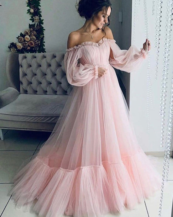 Romantic Tulle Pink dress for evening wedding  photography PL07046
