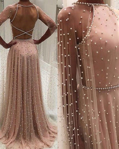 Luxury Arabic Style Women Pink Evening Dress with Pearl Cape Formal Prom Gowns PL08015