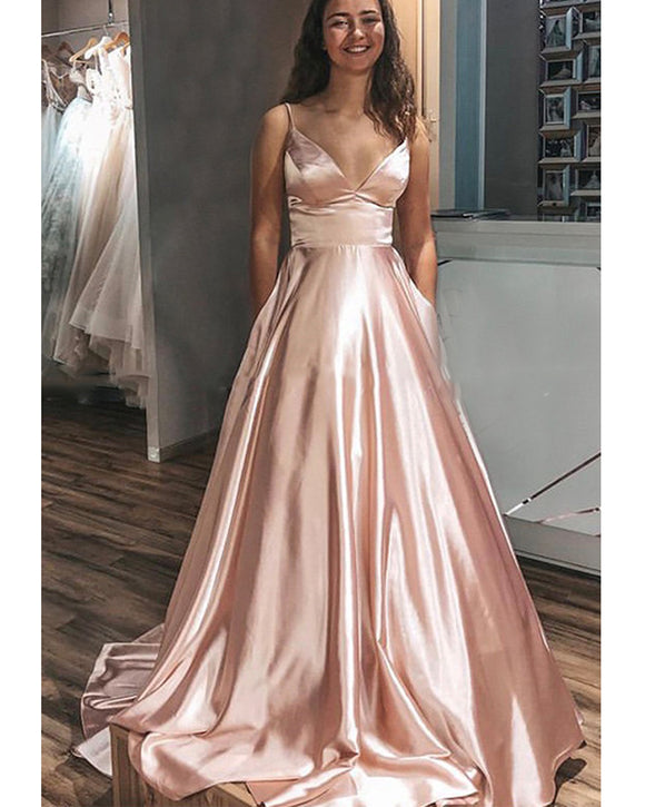 Deep V Neckline Blush Pink Prom Dresses  with Crochet Style Lace Up Back PL1019