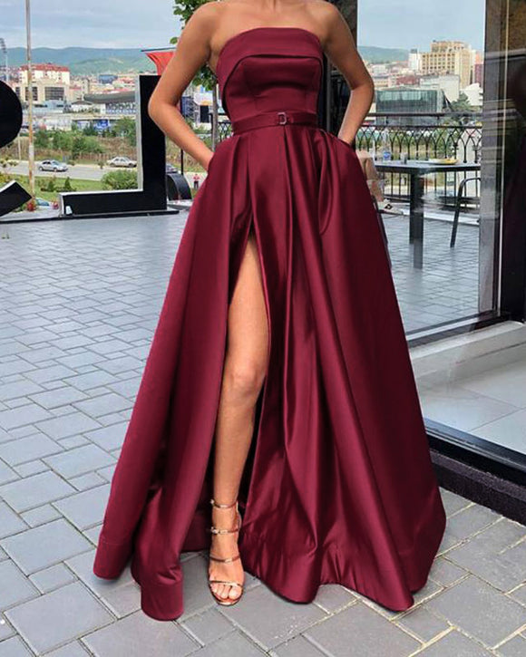 Stunning High Split A Line Satin Strapless Burgundy Prom Dress with Pocket Girls Senior Party Gown PL01105