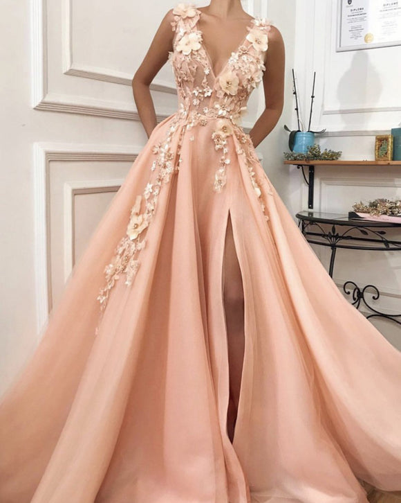 Beautifu V Neck Floral Appliqed Lace Pink Senior Prom Long Dress for Party with Slit PL011251