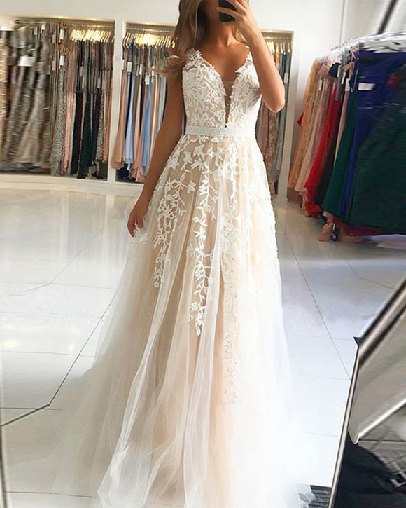 Beautiful A Line Tule Sexy V neck Champagne/Ivory Lace Long Prom Dress with Beading Belt PL0614