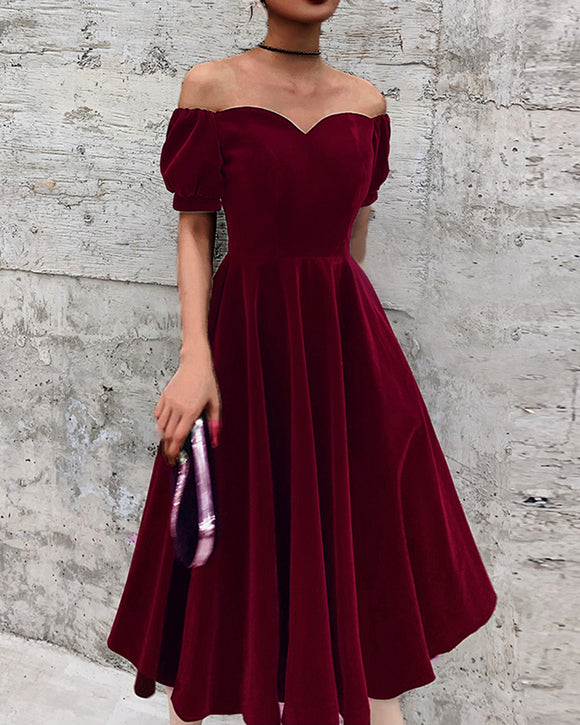 Velvet Burgundy Knee Length Short Party Prom Dress ,Bridesmaid Gown SP10102