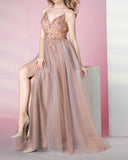 2020 Spaghetti Pink Beading Long Prom Party Dresses Fast Shipping PL0311