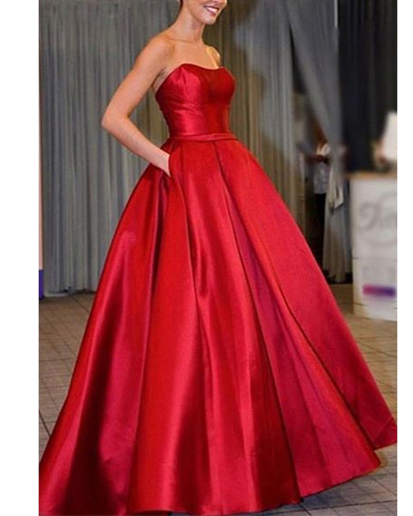 Gorgeous Red A Line Satin Long Party Prom Graduation Dress Evening Pageant Gowns for Girls with Pocket PL01230