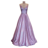 Glitter Purple Prom Dresses Long 2021 With Pockets Spaghetti Strap Formal Gown Lace Up Back