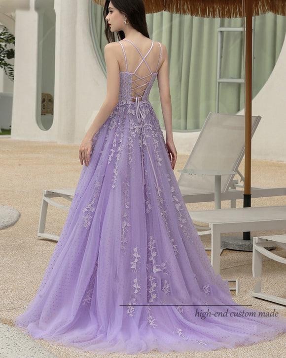Amazing Lace Lilac Quinceanera Dress Ball Gown Sweet Sixteen Party Prom Dress Cross Back PL1026