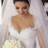 Classic Sexy Beading Lace Bridal Gown Robe De Mariee Ball Gowb Wedding Dresses 2020 WD03201