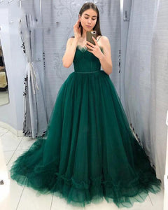 Gorgeous Ball Gown Tulle Emerald Green Prom Evening Dress ,Women Formal Dress Wedding Party Goowns PL0725