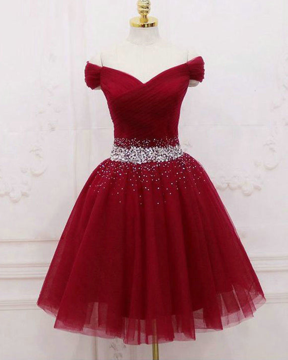 Wine Red Tulle Off Shoulder Short Prom Dress Girls 8th Grade Homecoming Dress SP520