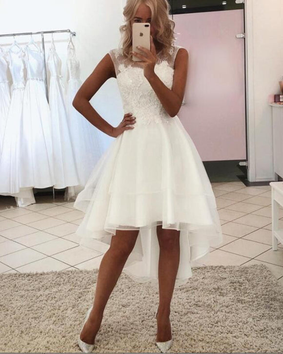 Lovely  High Low Beach Wedding Dress Ivory Lace Front Short Long Back Bridal Gown 2020 WD0522