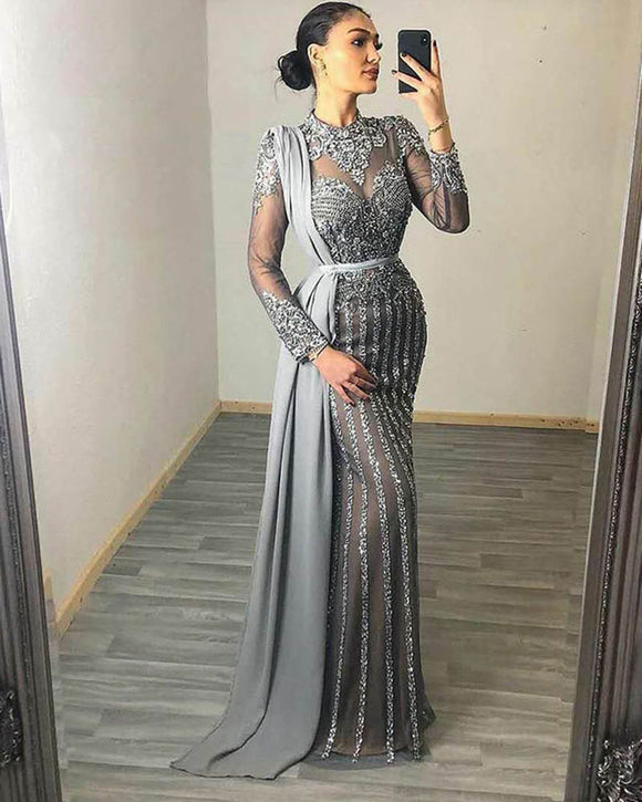 2020 Muslim beading Evening Dresses High Neck Dubai Long Sleeve prom gown Mermaid Women Party Dress CB0903