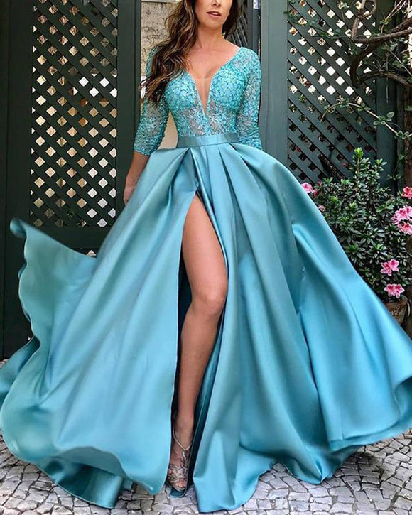 Lace Beading Appliqued Long Sleeves Turquoise Women Formal Evening Dress with sexy slit Vestido Longo PL10106