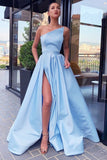 Siaoryne Champagne Slit A Line Satin Formal Evening Party Dresses Long PL6988