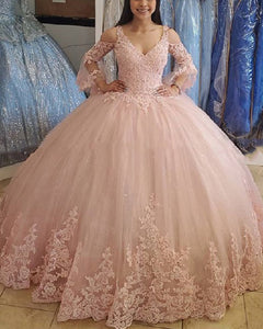 Vintage Lace Pink Ball Gown Brithday Dress for Sweet 16/15 Girls Quinceanera Dresses with Long Sleeves