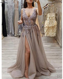 Siaoryne PL5412 Sexy V Neck Girls Slit Prom Dresses with Beading Straps Girls Party Dresses 2020