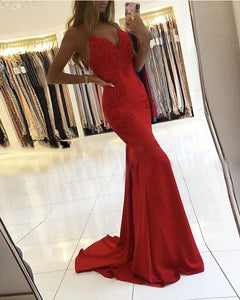 Sexy V Neck New Formal Outfits 2020 Red Lace Satin Prom Evening Party Dress Long PL0513