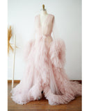 Pink Tulle Maternity Dress Photo Shoot Props Maternity Photography Tulle Gown Kimono Women Tulle Dress Plus Size PL01204