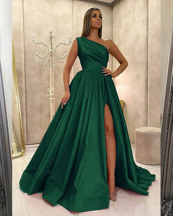 Elegant One Shoulder Satin A Line Women Formal Emerald Green Prom Dress with Slit Vestidos, Party Gowns for Gala PL011021