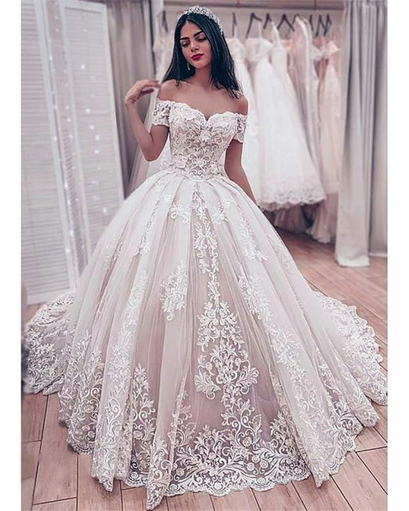 Romantic Off the Shoulder Women Lace Wedding Dress Ivory / Blush Pink Ball Gown Bridal Gown WD01207