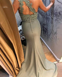 Fashion Sage Green Fitted Lace Dress Bridesmaid One Shoulder Wedding Party Gown PL1203