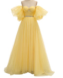 Wome Dot Tulle Yellow Prom Dresses  Puffy Sleeves Elegant Young Girl Vestido De festa PL07151