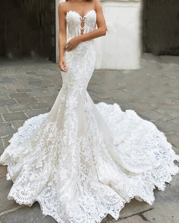 Stunning Sweetheart Mermaid Fishtail Lace Formal Bridal Wedding Dresses WD01221