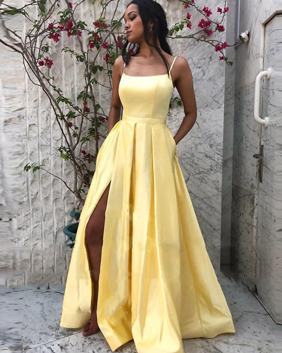 Spaghetti Straps Sexy Slit Formal Wedding Party Gown A Line Satin Yellow Prom Long Dress PL08092